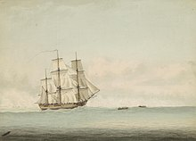 A three-masted wooden ship cresting an ocean swell beneath a cloudy sky. Two small boats tow the ship forward