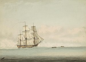 HMS Endeavour - Image: HMS Endeavour off the coast of New Holland, by Samuel Atkins c.1794