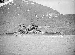 HMS King George V (41) - Image: HMS King George V after collision