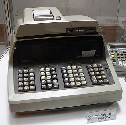 "Introduced in 1968, ""The new Hewlett-Packard 9100A personal computer is ready, willing, and able ... to relieve you of waiting to get on the big computer."" HP0100A 1.jpg"
