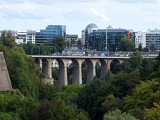 Luxembourg City - The Passerelle, also known as the viaduct or old bridge, overlooking the Pétrusse river valley; it opened in 1861.