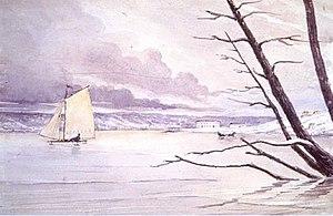 Hampden Clement Blamire Moody - Image: Hampden Clement Blamire Moody, An ice boat at Penetanguishene, c. 1845