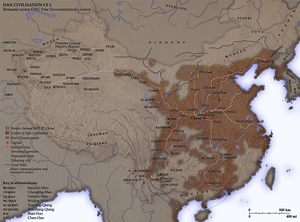 Map of the Han Dynasty, c. 2 CE