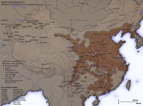 The Han dynasty world order in AD 2. Han Civilisation.png