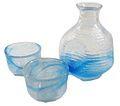 Hand made glass sake set blue 01.jpg