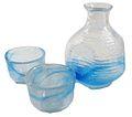 Hand made glass sake set blue 01.jpg
