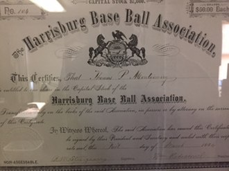 Harrisburg Senators - A stock certificate of the Harrisburg Base Ball Association from 1884