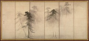 Hasegawa Tōhaku - Image: Hasegawa Tohaku Pine Trees (Shōrin zu byōbu) left hand screen