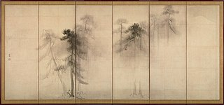 couple of folding screens by Hasegawa Tōhaku