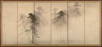 Ma (negative space) - Image: Hasegawa Tohaku Pine Trees (Shōrin zu byōbu) left hand screen