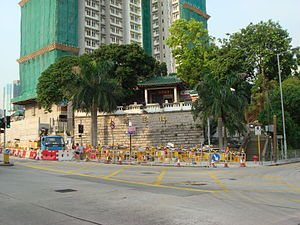 Junction Road, Hong Kong - Hau Wong Temple along Junction Road, with Mei Yan House of Mei Tung Estate under construction.
