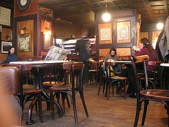 Viennese coffee house - The Hawelka coffee house on a quiet Thursday morning