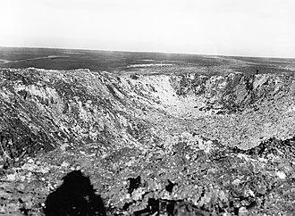 Hawthorn Ridge Redoubt - Image: Hawthorn crater Somme Nov 1916 IWM Q 1527