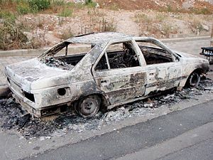 Heavily Damaged Car Beirut Lebanon Unrest 5-9-08.jpg