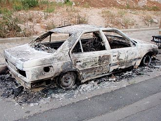 2008 conflict in Lebanon - A car heavily damaged during the unrest in Lebanon on May 9.