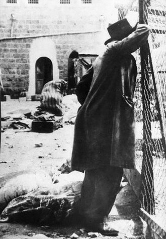1929 Palestine riots - A survivor mourning in the aftermath of the massacre in Hebron.