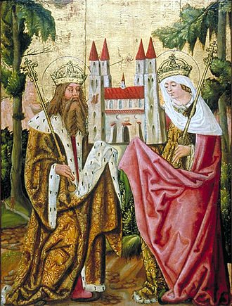 The Imperial saintly couple, Saint Henry II and Saint Cunigunde of Luxembourg, as depicted in 15th century Heinrich II und Kunigunde.JPG