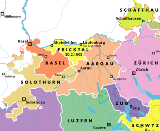 Canton of Basel - The canton of Basel, shown within the northern part of the Helvetic Republic, as at 1802; the canton of Fricktal (adjacent) joined the Aargau later that year.