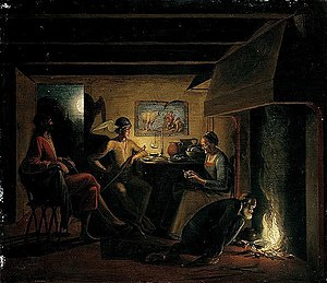 Hendrick Goudt - Philemon and his wife Baucis hospitably entertain Jupiter and Mercury in travellers' guise.