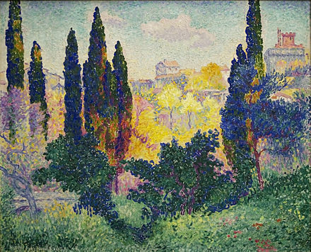 Cypresses at Cagnes, 1908, Musee d'Orsay Henri-Edmond Cross, 1908, Les cypres a Cagnes, oil on canvas, 81 x 100 cm, Musee d'Orsay, Paris.jpg
