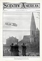 Henry Farman first cross-country flight with aeroplane Scientific American 1908-11-21.jpg
