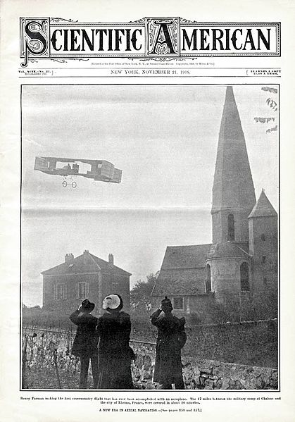 File:Henry Farman first cross-country flight with aeroplane Scientific American 1908-11-21.jpg