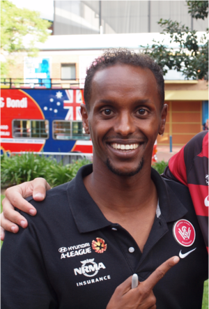Youssouf Hersi - Hersi with the Western Sydney Wanderers at the end of season parade in Parramatta