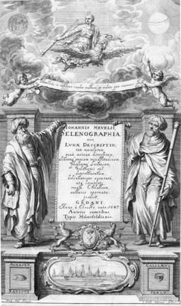 Al-Haytham as seen by the West: on the frontispiece of Selenographia Alhasen [sic] represents knowledge through reason and Galileo knowledge through the senses. Hevelius Selenographia frontispiece.png