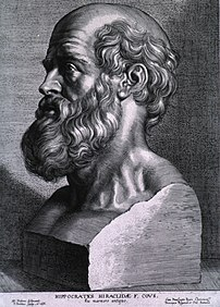 Engraving of Hippocrates by Peter Paul Rubens, 1638.