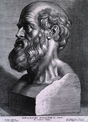 Engraving of Hippocrates by Peter Paul Rubens,...