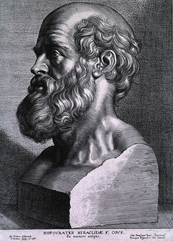"""Hippokrates, läkekonstens """"fader"""". Gravyr av Peter Paul Rubens (1638)."""