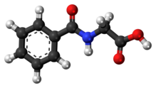 Ball-and-stick model of the hippuric acid molecule