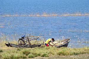 Hirakud Dam - Image: Hirakud fisherman 2