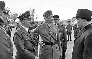 Hitler and Mannerheim recording - Adolf Hitler, Gustaf Mannerheim, and President Risto Ryti in front of Hitler's private converted plane.