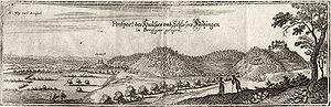 Höhingen Castle - Engraving by Matthäus Merian from 1644 AD seen from the west (Rhine Rift).