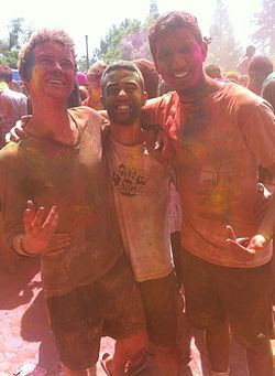 Students pose for a Holi Celebration at Villanova University.