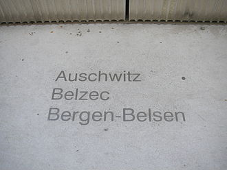 Judenplatz Holocaust Memorial - Engravings of the names of the concentration camps at which the victims were killed, at the foot of the memorial.