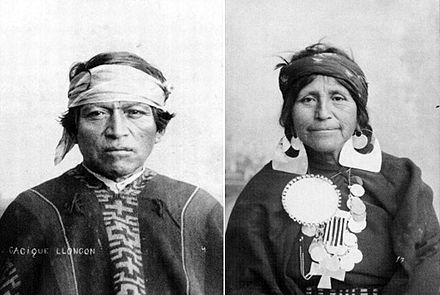 Mapuche man and woman. The Mapuche make up about 85% of Chile's indigenous population. Hombre & mujer Mapuche.jpg