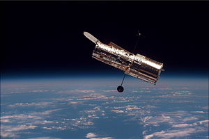Space Photo of Hubble Space Telescope via SS Discovery