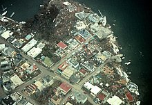 Aerial view of damaged and destroyed buildings in Culebra