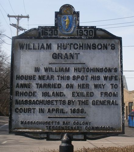 Historical highway marker for William and Anne Hutchinson property at Mount Wollaston, later in Quincy, Massachusetts Hutchinson Hist Hwy Mkr Quincy MA 20130331.jpg