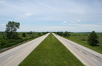 Scott Township, Champaign County, Illinois - A section of I-72, north of Seymour, Illinois, facing west overlooking section 8 and in the distance section 7 of Scott township.