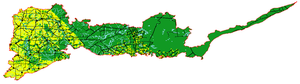 Mallee (biogeographic region) - The Mallee region, with agricultural areas in yellow, and native vegetation in green
