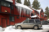 Icicles on motel's roof in Tahoe, California.jpg