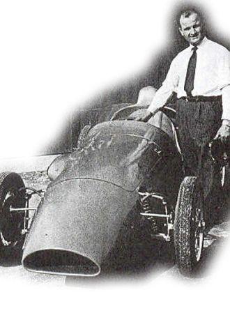 Bandini Formula Three - Ilario Bandini next to a formula Bandini 3.