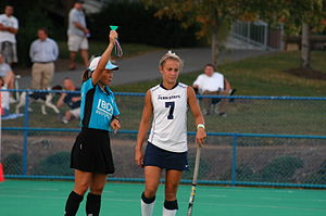 Penalty card - A Penn State field hockey player receives a green card.