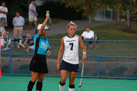 A Penn State field hockey player receives a green card. Indiana (80) (5028145116).jpg