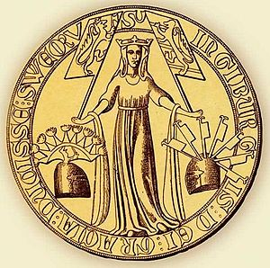 House of Sverre - Image: Ingiburga of Sweden (daughter of Hacon) seal 1318 (1)
