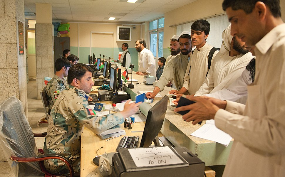 Inside the Afghan customs and border patrol station at Torkham