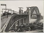 Installing electric cables on Harbour Bridge looking, 1932 (8282715277).jpg